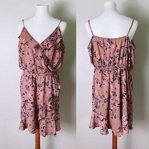 EXPRESS Floral Ruffle Surplice Dress